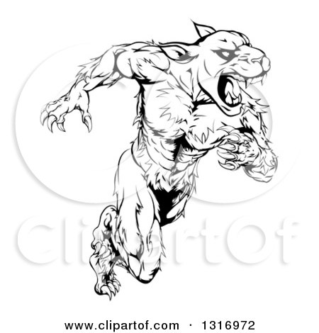 Clipart of a Black and White Muscular Panther Mascot Running Upright - Royalty Free Vector Illustration by AtStockIllustration