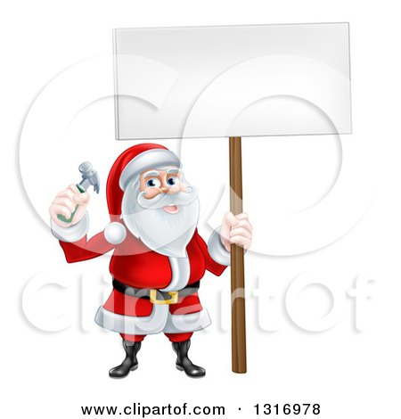 Happy Christmas Santa Claus Carpenter Holding a Hammer and Blank Sign Posters, Art Prints