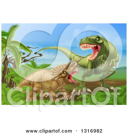 Clipart of a 3d Hungry Tyrannosaurus Rex Dinosaur Attacking a Triceratops - Royalty Free Vector Illustration by AtStockIllustration