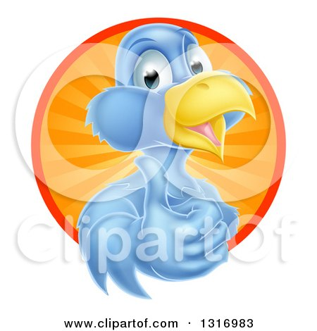Clipart of a Pleased Blue Bird Character Giving a Thumb up and Emerging from a Circle of Sunshine - Royalty Free Vector Illustration by AtStockIllustration