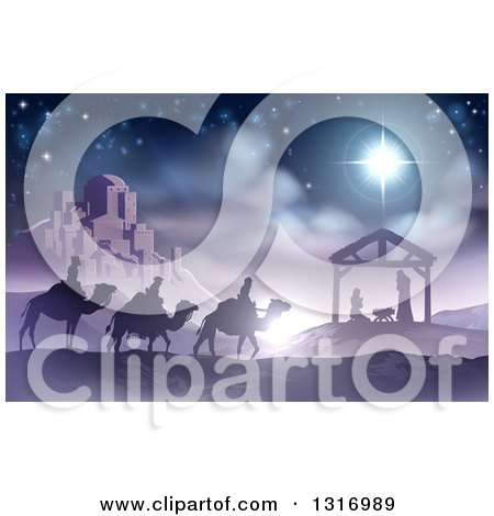 Clipart of a Purple and Blue Toned Nativity Scene of Baby Jesus in the Manger with the Wise Men and Star of Bethlehem near the City - Royalty Free Vector Illustration by AtStockIllustration