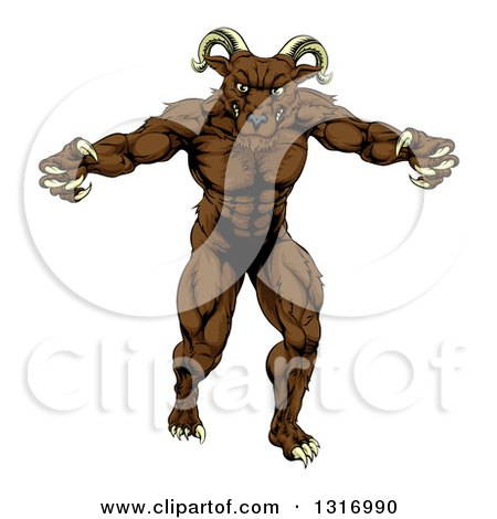 Clipart of a Muscular Threatening Ram with Claws - Royalty Free Vector Illustration by AtStockIllustration