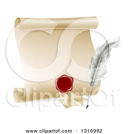 Clipart of a Vintage Feather Quill Pen, Wax Seal and Blank Scroll - Royalty Free Vector Illustration by AtStockIllustration
