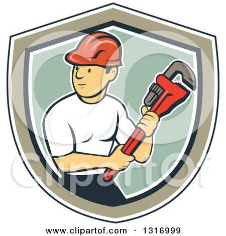 Clipart of a Retro Cartoon White Male Plumber Holding a Giant Monkey Wrench in a Navy Blue, White, Tan and Green Shield - Royalty Free Vector Illustration by patrimonio