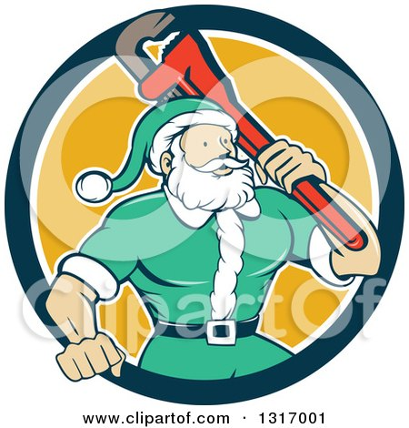 Clipart Of A Cartoon Plumber Santa In A Green Suit Holding A Monkey Wrench Over His Shoulder In A Navy Blue White And Yellow Circle Royalty Free Vector Illustration
