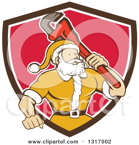 Clipart of a Retro Cartoon Plumber Santa in a Yellow Suit, Holding a Monkey Wrench over His Shoulder in a Brown White and Red Shield - Royalty Free Vector Illustration by patrimonio