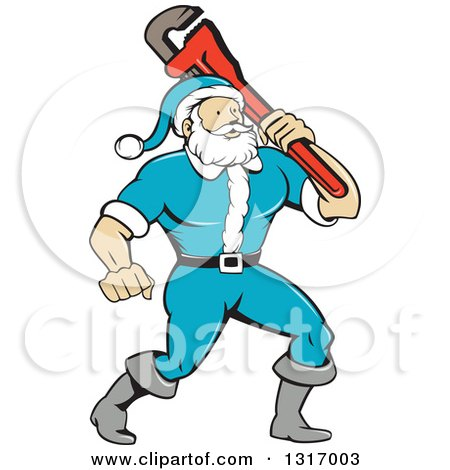 Clipart of a Cartoon Plumber Santa in a Blue Suit, Holding a Monkey Wrench over His Shoulder - Royalty Free Vector Illustration by patrimonio