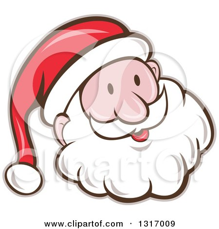 Clipart of a Cartoon Happy White Santa Claus Face - Royalty Free Vector Illustration by patrimonio