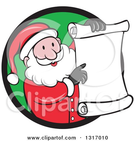 Clipart of a Cartoon Happy White Santa Claus Holding and Pointing to a Christmas Scroll List and Emerging from a Black and Green Circle - Royalty Free Vector Illustration by patrimonio