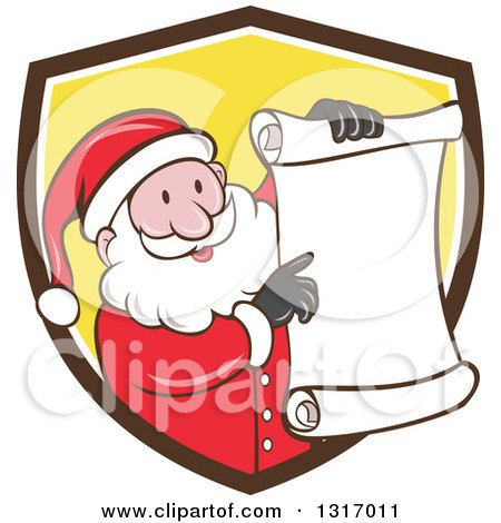 Clipart of a Cartoon Happy White Santa Claus Holding and Pointing to a Christmas Scroll List and Emerging from a Brown White and Yellow Shield - Royalty Free Vector Illustration by patrimonio