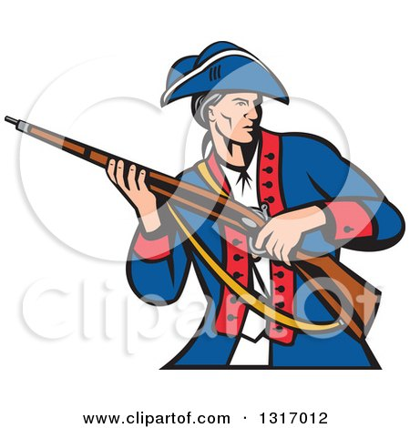Clipart of a Retro Cartoon American Patriot Militia Soldier Carrying a Musket Rifle - Royalty Free Vector Illustration by patrimonio