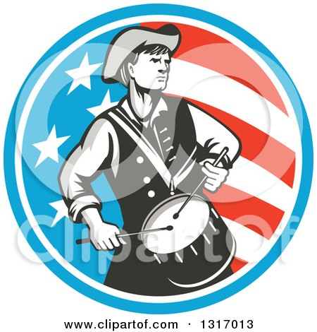 Clipart of a Retro American Revolutionary War Soldier Patriot Minuteman Drummer in a Circle of Stars and Stripes - Royalty Free Vector Illustration by patrimonio