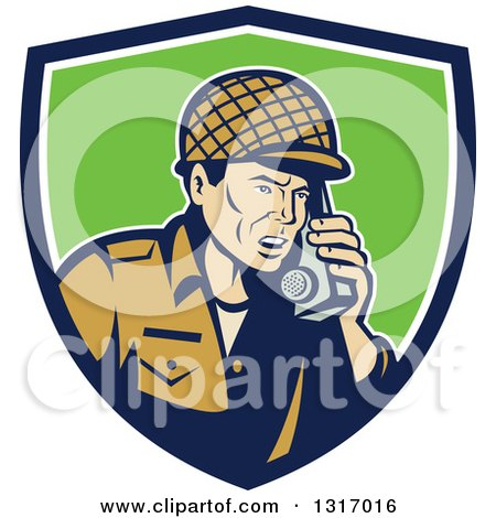 Clipart of a Retro Cartoon World War Two Soldier Talking on a Field Radio in a Blue White and Green Shield - Royalty Free Vector Illustration by patrimonio