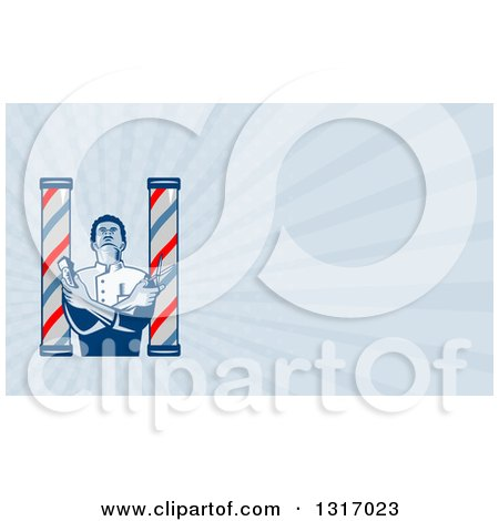 Retro Woodcut Barber Between Poles Holding Scissors and Clippers and Rays Background or Business Card Design Posters, Art Prints