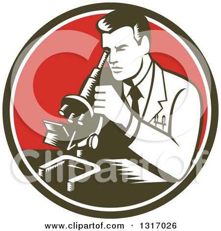 Clipart of a Retro Woodcut Male Scientist Using a Microscope in a Dark Green, White and Red Circle - Royalty Free Vector Illustration by patrimonio