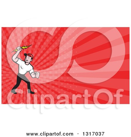 Clipart of a Cartoon White Male Electrician Holding up a Bolt and Red ...