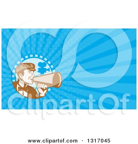 Clipart of a Retro Male Movie Director Using a Bullhorn in a Film Strip Circle and Blue Rays Background or Business Card Design - Royalty Free Illustration by patrimonio