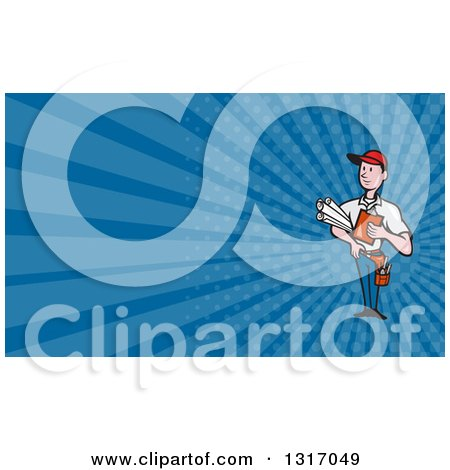 Clipart of a Cartoon White Male Builder Holding Blueprints and a Clipboard, and Blue Rays Background or Business Card Design - Royalty Free Illustration by patrimonio