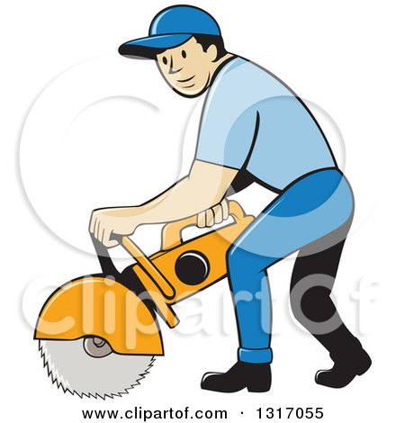 Clipart of a Cartoon White Male Construction Worker Using ...