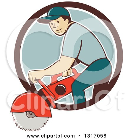 Clipart of a Retro Cartoon White Male Construction Worker Using a Concrete Cutter Tool in a Brown White and Blue Circle - Royalty Free Vector Illustration by patrimonio