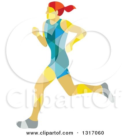 Clipart of a Retro Low Poly Geometric Red Haired White Female Marathon Runner - Royalty Free Vector Illustration by patrimonio