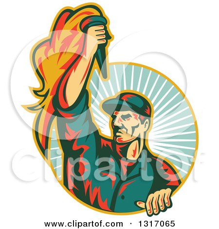 Clipart of a Retro Revolution Male Worker Holding up a Torch and Emerging from a Turquoise Sun Burst Circle - Royalty Free Vector Illustration by patrimonio