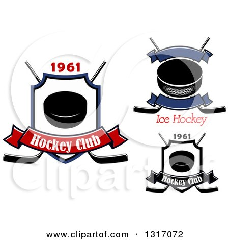 Clipart of Hockey Pucks and Crossed Sticks with Banners and Text - Royalty Free Vector Illustration by Vector Tradition SM