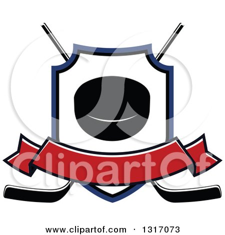 Clipart of a Hockey Puck Inside a Shield over Crossed Sticks with a Blank Red Banner - Royalty Free Vector Illustration by Vector Tradition SM