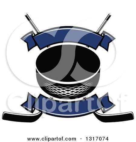 Clipart of a Hockey Puck over Crossed Sticks with Blank Blue Banners - Royalty Free Vector Illustration by Vector Tradition SM