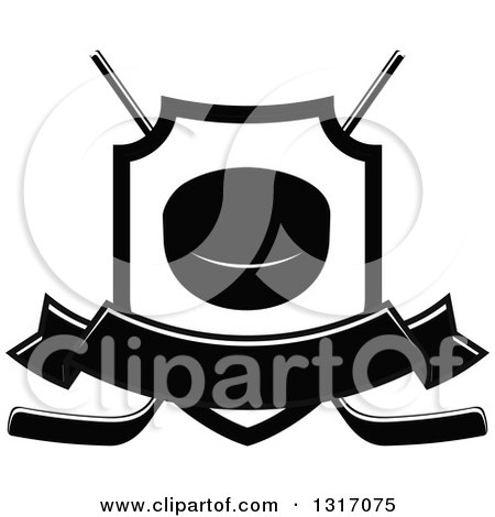 Clipart of a Black and White Hockey Puck Inside a Shield over Crossed Sticks with a Blank Banner - Royalty Free Vector Illustration by Vector Tradition SM