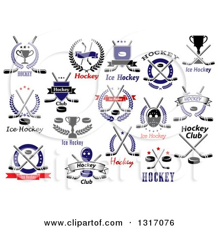 Clipart of Ice Hockey Sports Designs with Text - Royalty Free Vector Illustration by Vector Tradition SM