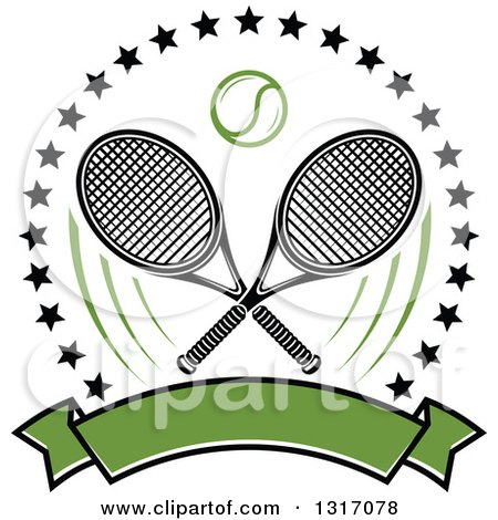 Clipart of a Tennis Ball and Crossed Rackets Inside a Circle of Stars Above a Blank Green Banner - Royalty Free Vector Illustration by Vector Tradition SM