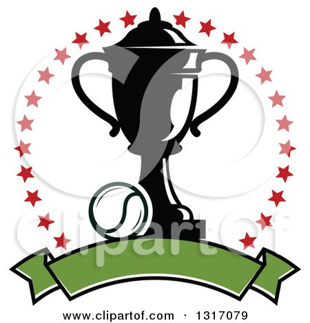Clipart of a Tennis Ball and Trophy Inside a Circle of Red Stars Above a Blank Green Banner - Royalty Free Vector Illustration by Vector Tradition SM