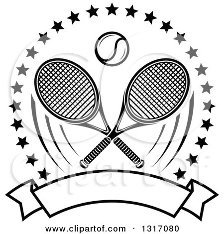 Clipart of a Black and White Tennis Ball and Crossed Rackets Inside a Circle of Stars Above a Blank Banner - Royalty Free Vector Illustration by Vector Tradition SM