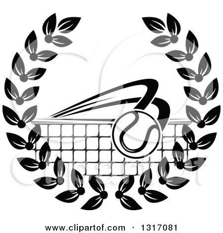 Clipart of a Black and White Tennis Ball Flying over a Net in a Wreath - Royalty Free Vector Illustration by Vector Tradition SM
