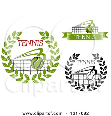 Clipart of Tennis Ball, Wreath and Net Designs with Text - Royalty Free Vector Illustration by Vector Tradition SM