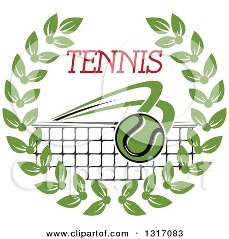 Clipart of a Tennis Ball Flying over a Net with Red Text in a Green Wreath - Royalty Free Vector Illustration by Vector Tradition SM