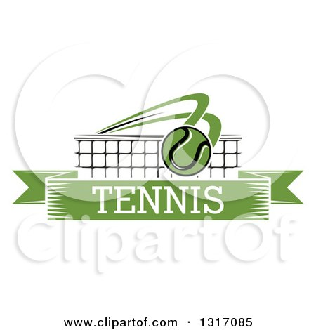 Clipart of a Tennis Ball Flying over a Net and a Green Text Banner - Royalty Free Vector Illustration by Vector Tradition SM
