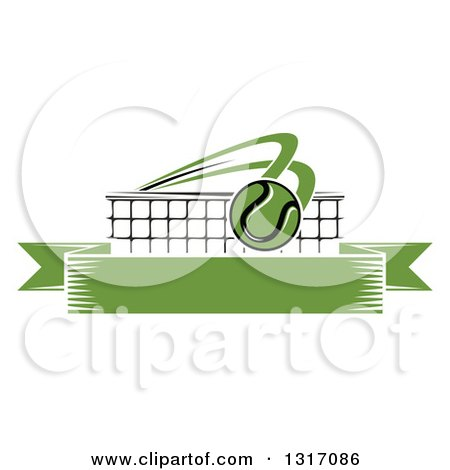 Clipart of a Tennis Ball Flying over a Net and a Blank Green Banner - Royalty Free Vector Illustration by Vector Tradition SM