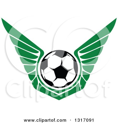 Clipart of a Soccer Ball with Green Wings - Royalty Free Vector Illustration by Vector Tradition SM