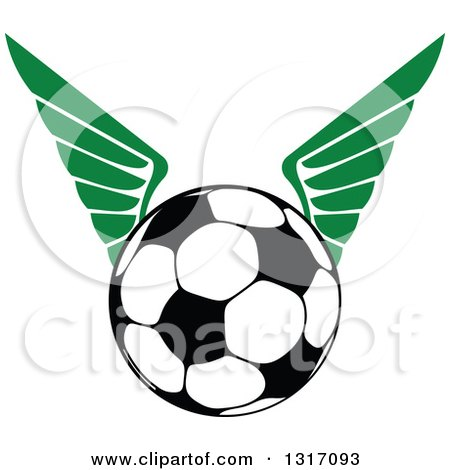 Clipart of a Soccer Ball with Green Wings 2 - Royalty Free Vector Illustration by Vector Tradition SM
