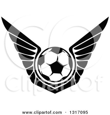 Clipart of a Black and White Soccer Ball with Wings - Royalty Free Vector Illustration by Vector Tradition SM