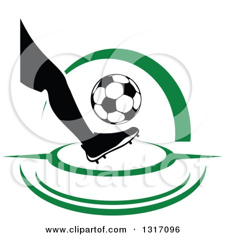 Clipart of a Soccer Ball Player's Foot Kicking a Ball, with Green Swooshes - Royalty Free Vector Illustration by Vector Tradition SM