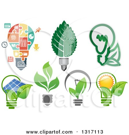 Clipart of Green Energy Light Bulbs - Royalty Free Vector Illustration by Vector Tradition SM