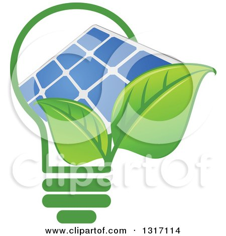 Clipart of a Light Bulb with Green Leaves and a Solar Panel - Royalty Free Vector Illustration by Vector Tradition SM