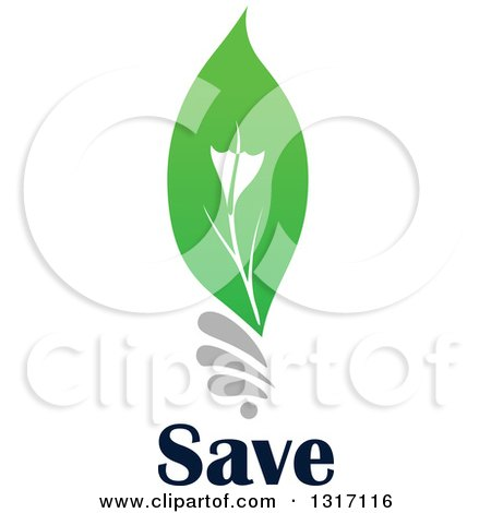 Clipart of a Green Leaf Light Bulb over Save Text - Royalty Free Vector Illustration by Vector Tradition SM