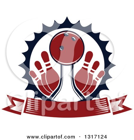 Clipart of a Red Bowling Ball in a Lane with Pins Inside a Burst Circle with a Blank Banner - Royalty Free Vector Illustration by Vector Tradition SM
