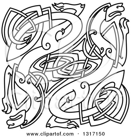 Clipart of Lineart Celtic Knot Dragons - Royalty Free Vector ...