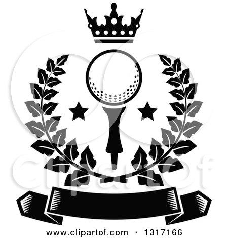 Clipart Of A Black And White Crown Above A Golf Ball With Stars In A Green Wreath Over A Blank Banner Royalty Free Vector Illustration