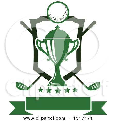 Clipart of a Golf Ball, Green Trophy and Crossed Clubs with a Shield, Stars and Blank Banner - Royalty Free Vector Illustration by Vector Tradition SM